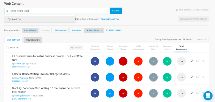 BuzzSumo shows you which articles, videos, and other content were most shared over a specific period of time, based on your keyword term.