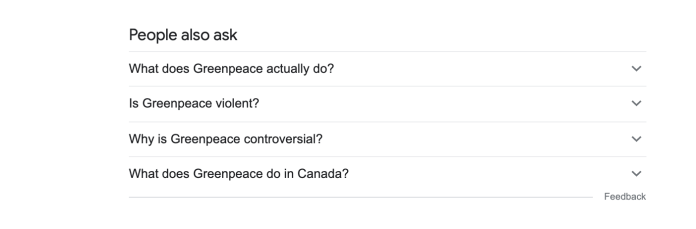 Suggest question results to Branded Greenpeace search.