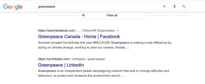 Greenpeace Facebook and LinkedIn search results.