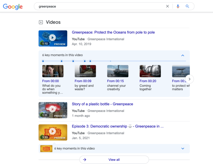 Greenpeace branded video results.