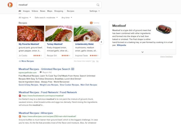 Search on a food dish on DuckDuckGo.
