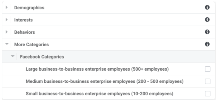Detailed Targeting section option for company size.