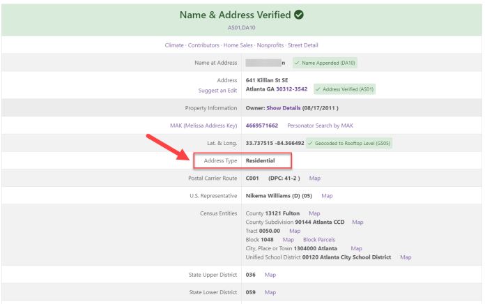 Confirm the address type with Melissa Address Lookup Tool.
