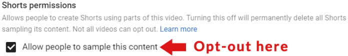 How to Opt out of YouTube content sampling by YouTube Shorts Creators