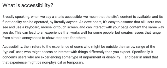 Google's answer to 'what is accessibility?'