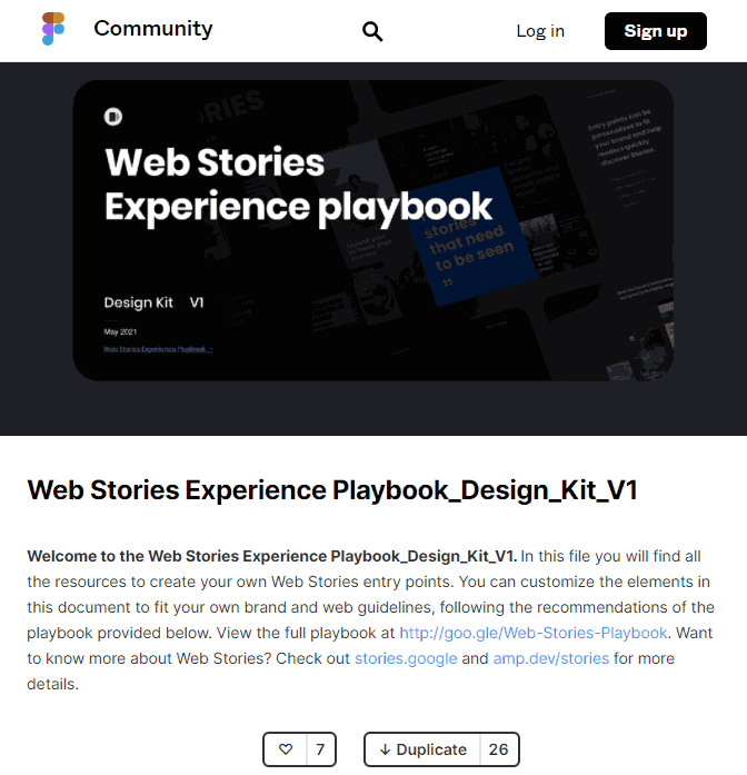 Screenshot of Web Stories Design Kit Web Page