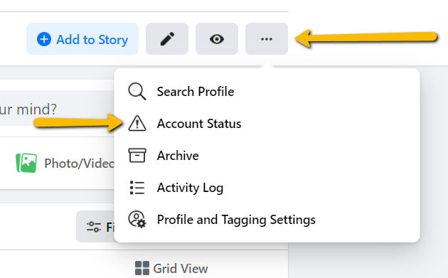 Facebook settings allow you to check your account status.