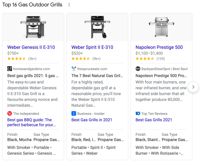 Top Products Carousel example on gas outdoor grills.