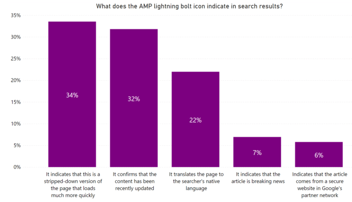 What does the amp lightning bolt indicate in search results?