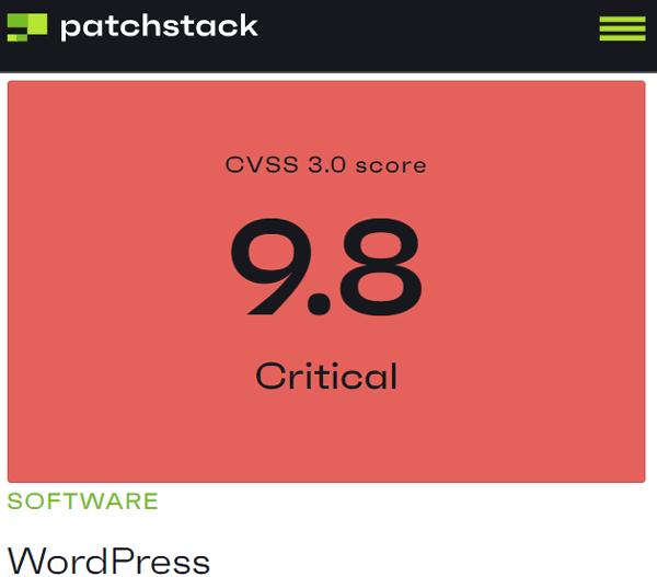 Screenshot of WordPress Vulnerability Rating