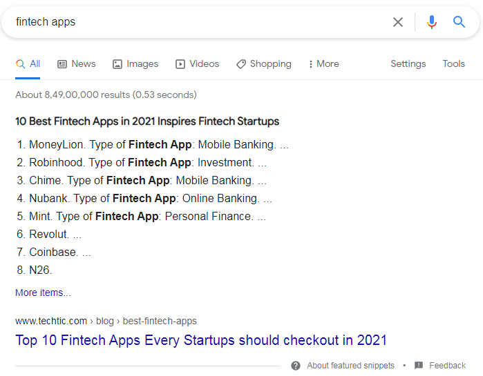 Ordered Listicle Featured Snippets.