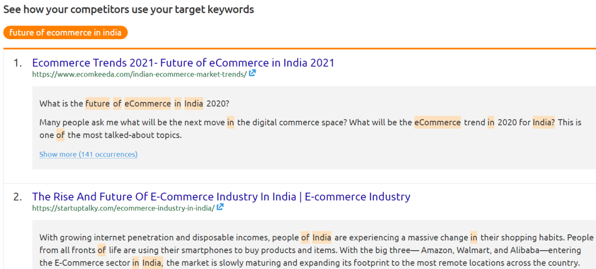 Competitors target keyword research.