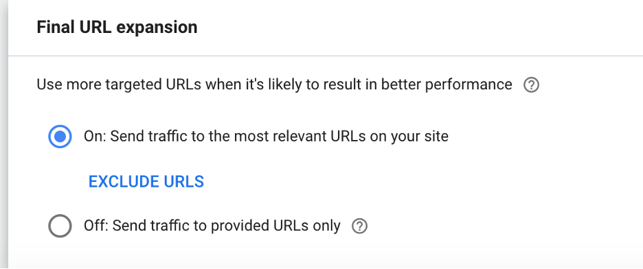 Performance Max URL expansion