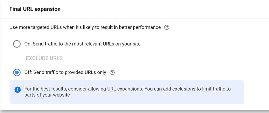 Performance Max URL Settings
