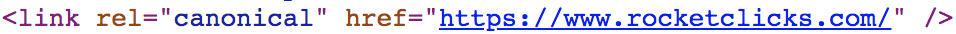 Example of a rel canonical in HTML.