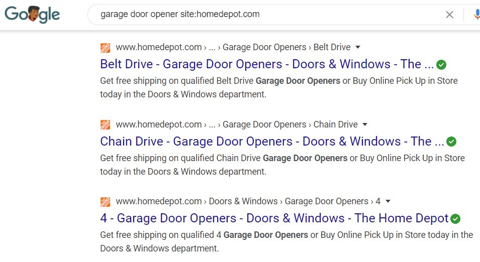 SERP result using site search.