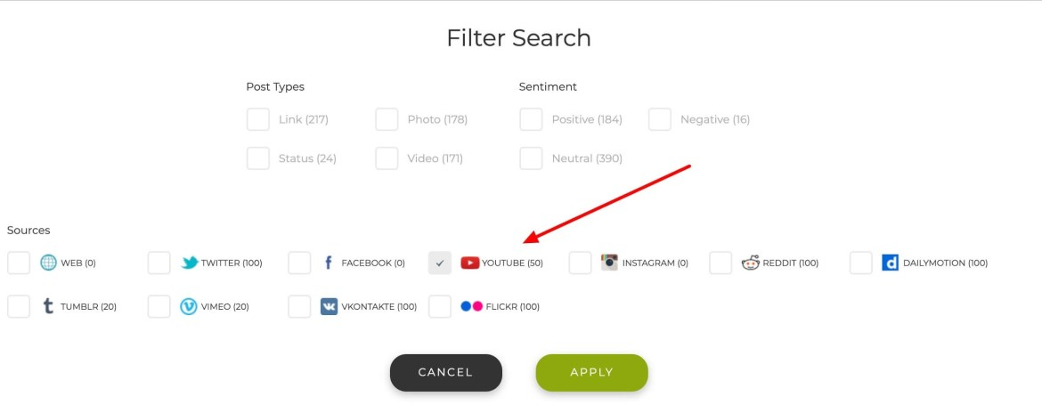 Filter search from Social Searcher.