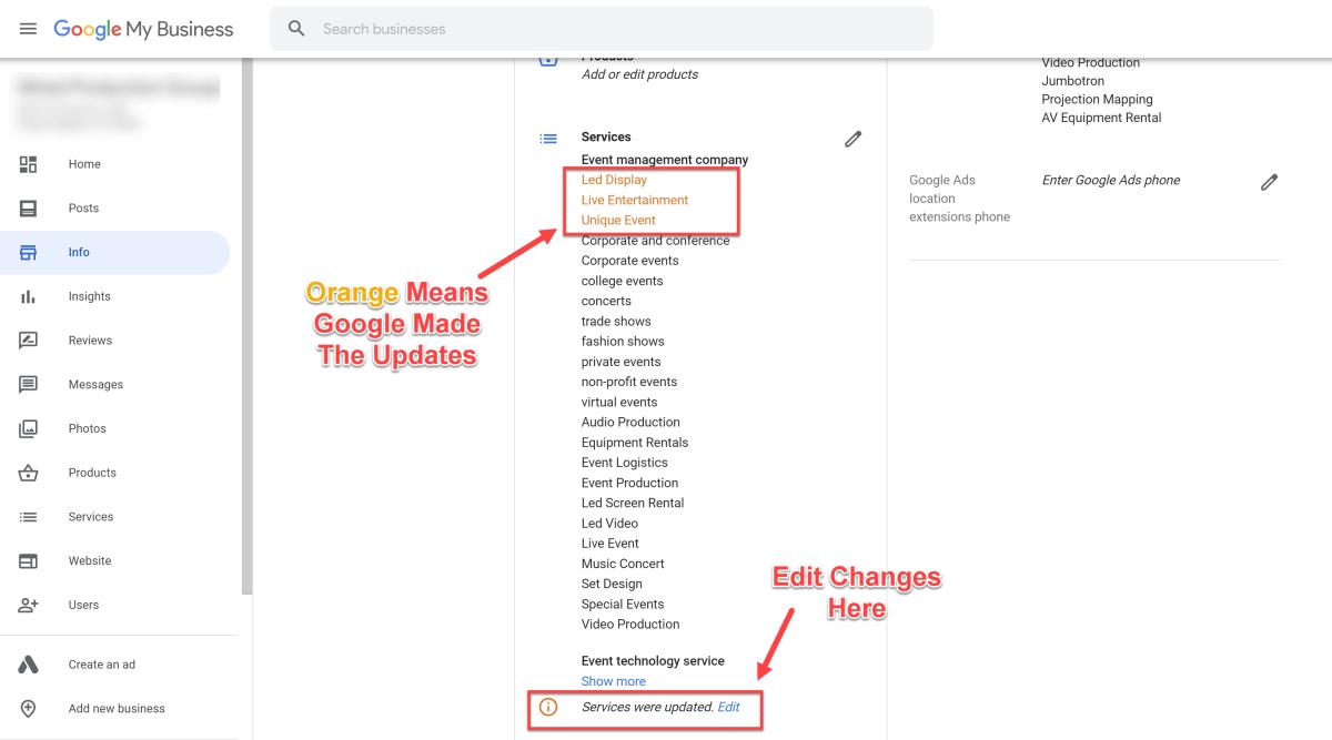 Google edits to GMB profile.