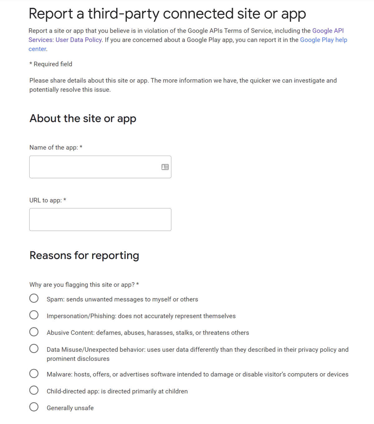Report Third-Party Tools Form.