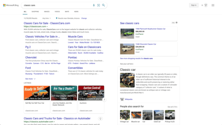 Microsoft Bing SERP results for