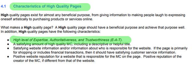 Google's E-A-T characteristics.