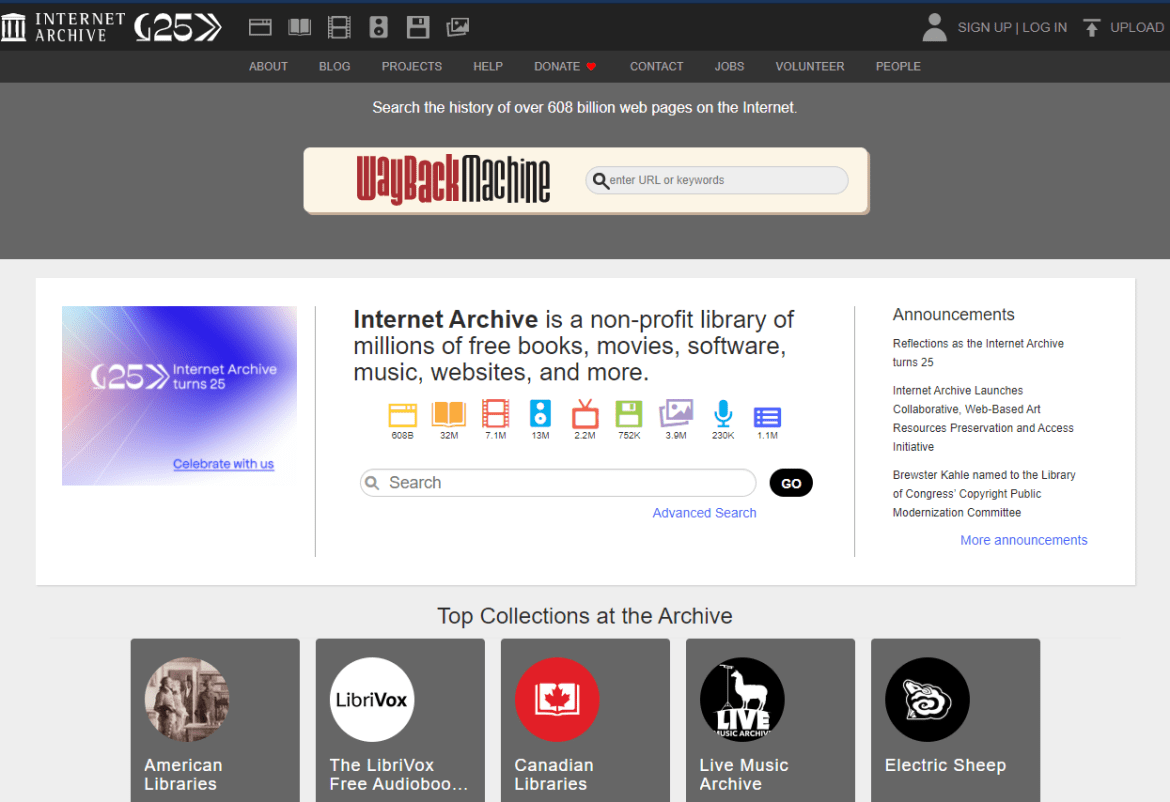 Internet Archive search engine.