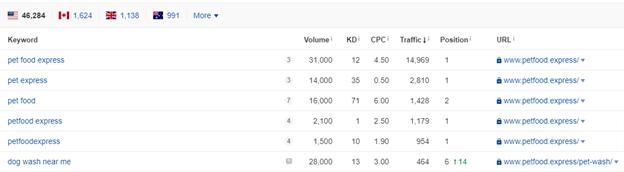 Keyword rank checker results for