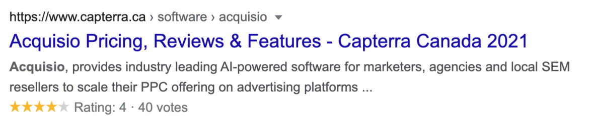 Acquisio review and star rating on third-party review site Capterra.