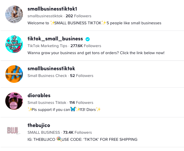 Use hashtags to get discovered in B2B circles on TikTok.