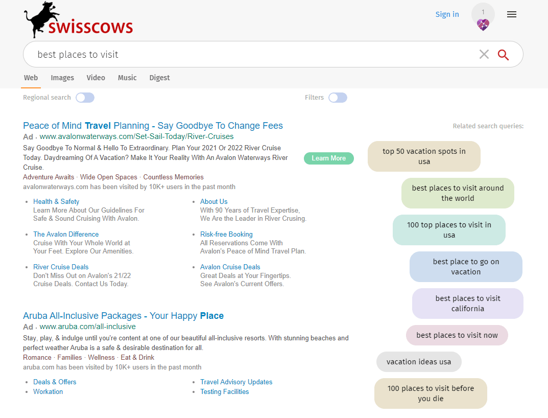 Swisscows search engine results.