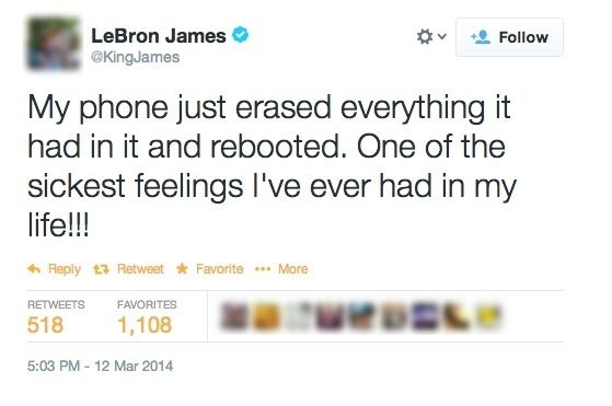 Twitter post of LeBron complaining about his phone.