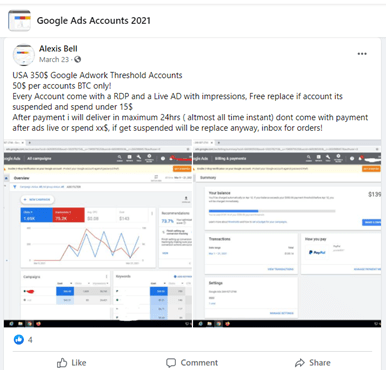 Shady Facebook Groups selling Google Ads Accounts