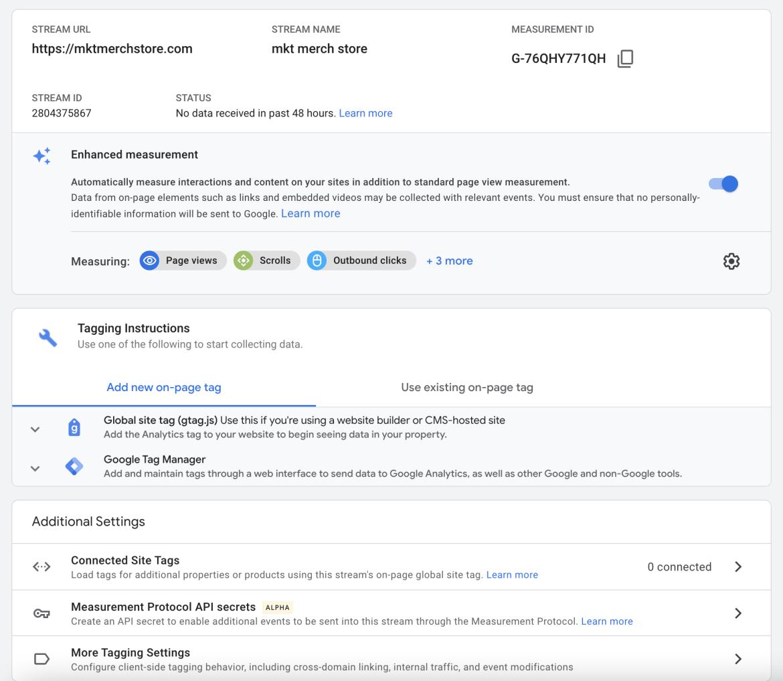 Screenshot of google analytics 4 data stream setup options.