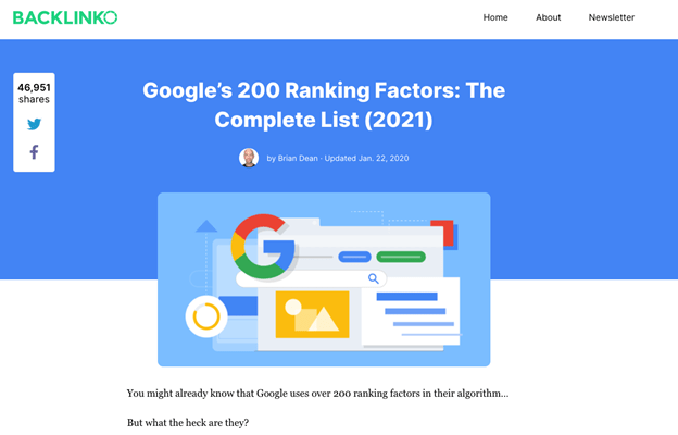 Example article about ranking factors.