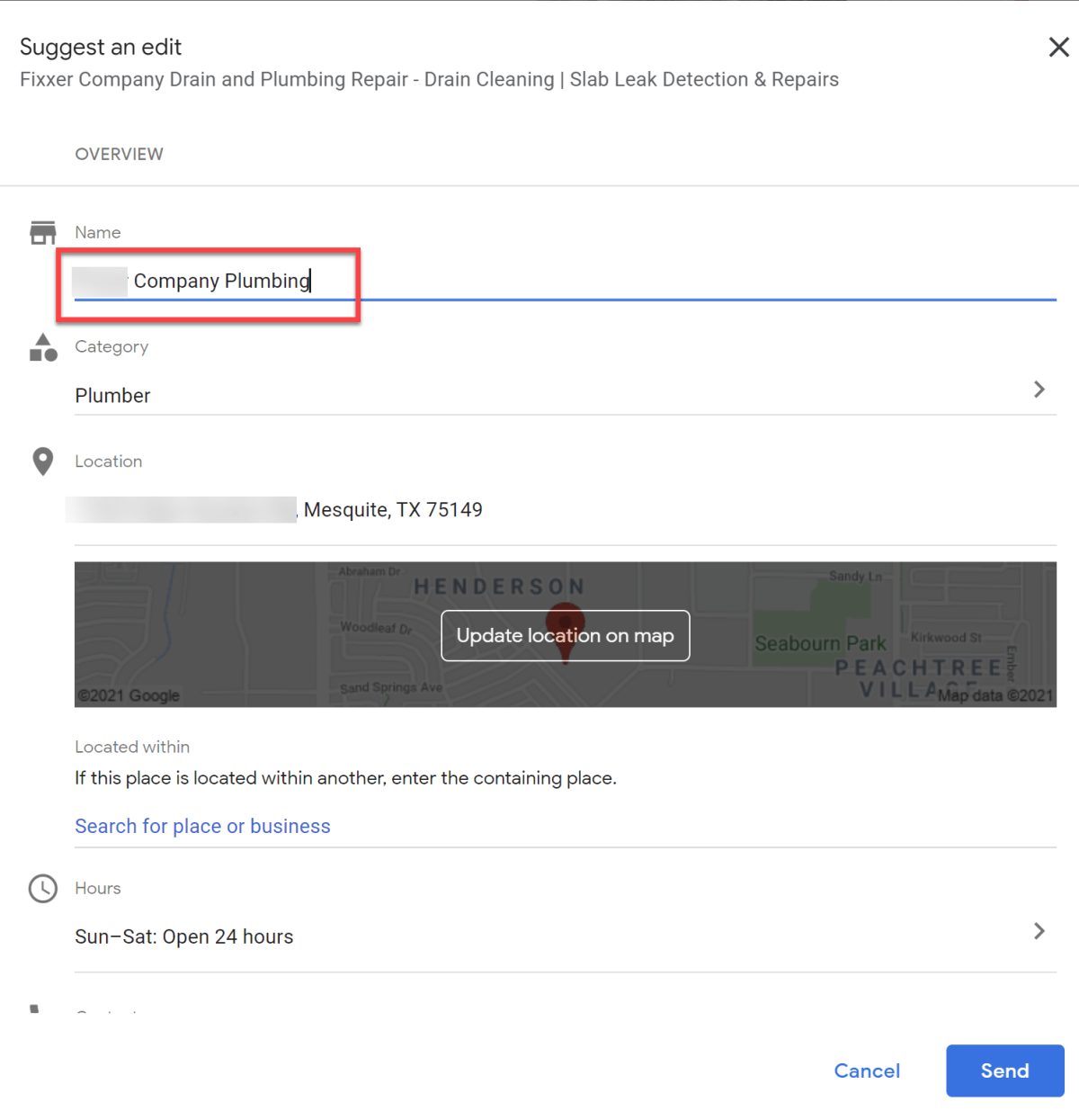 Edit a Business Name With GMB Suggest An Edit.