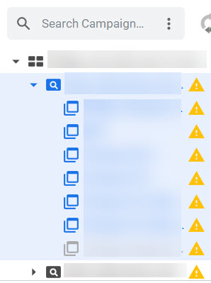 Left navigation on Google Ads Editor showing expanded campaign.