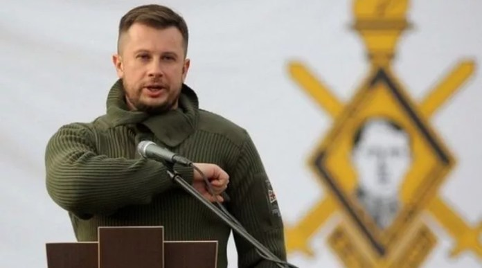 """The National Corps has nominated its leader Andrei Biletsky for the presidency.  Photo: National Corps """""""