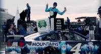 Denny Hamlin wins at Pocono. Photo: Instagram (@kevinharvick)