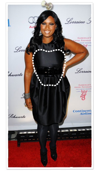 Jennifer Hudson has an apple shaped body type