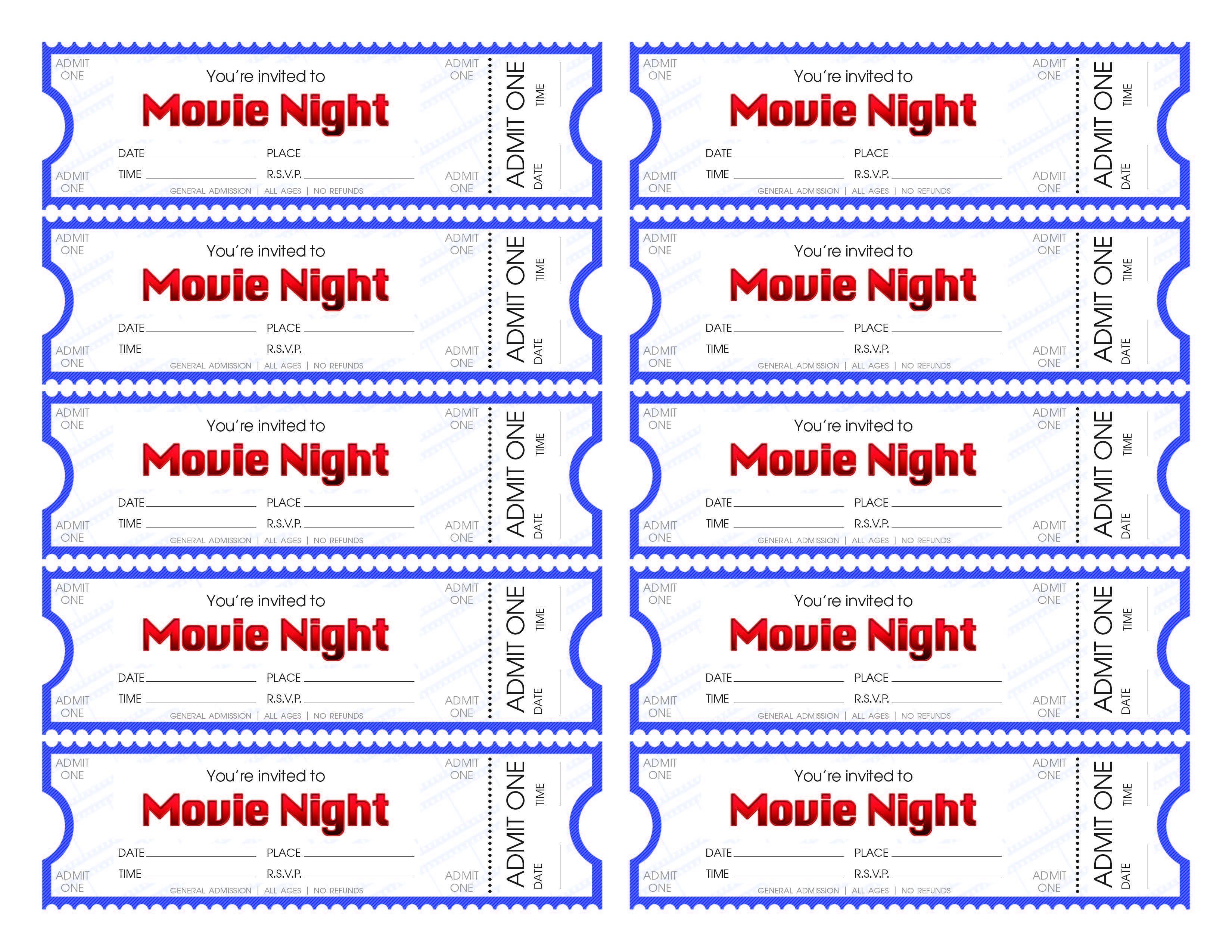 printable ticket template – Printable Movie Ticket Template