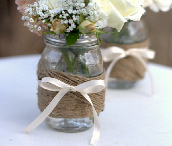 DIY twine wrapped jars