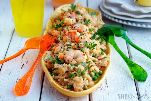 Stir-fry rice with shrimp, vegetables & soy lime sauce