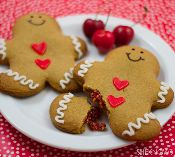 Cherry-filled gingerbread man tarts