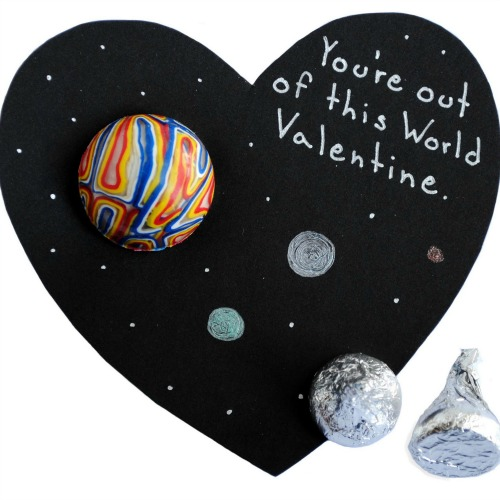 Out of this world space Valentine's Day card for teachers