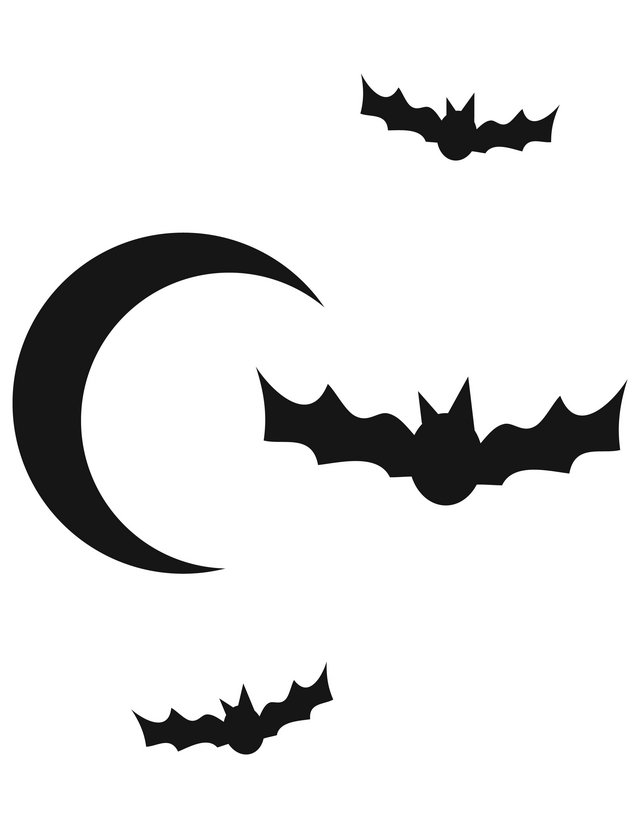 Moon And Bats Free Printable Coloring Pages
