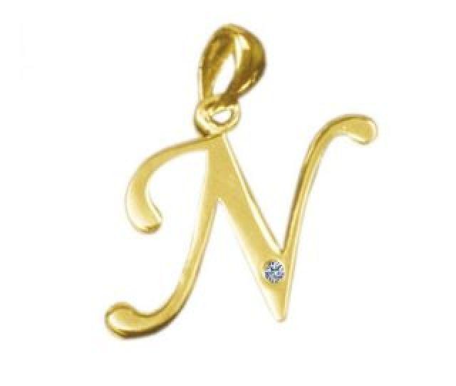Kaara Alphabet N Diamond Gold Pendant San N