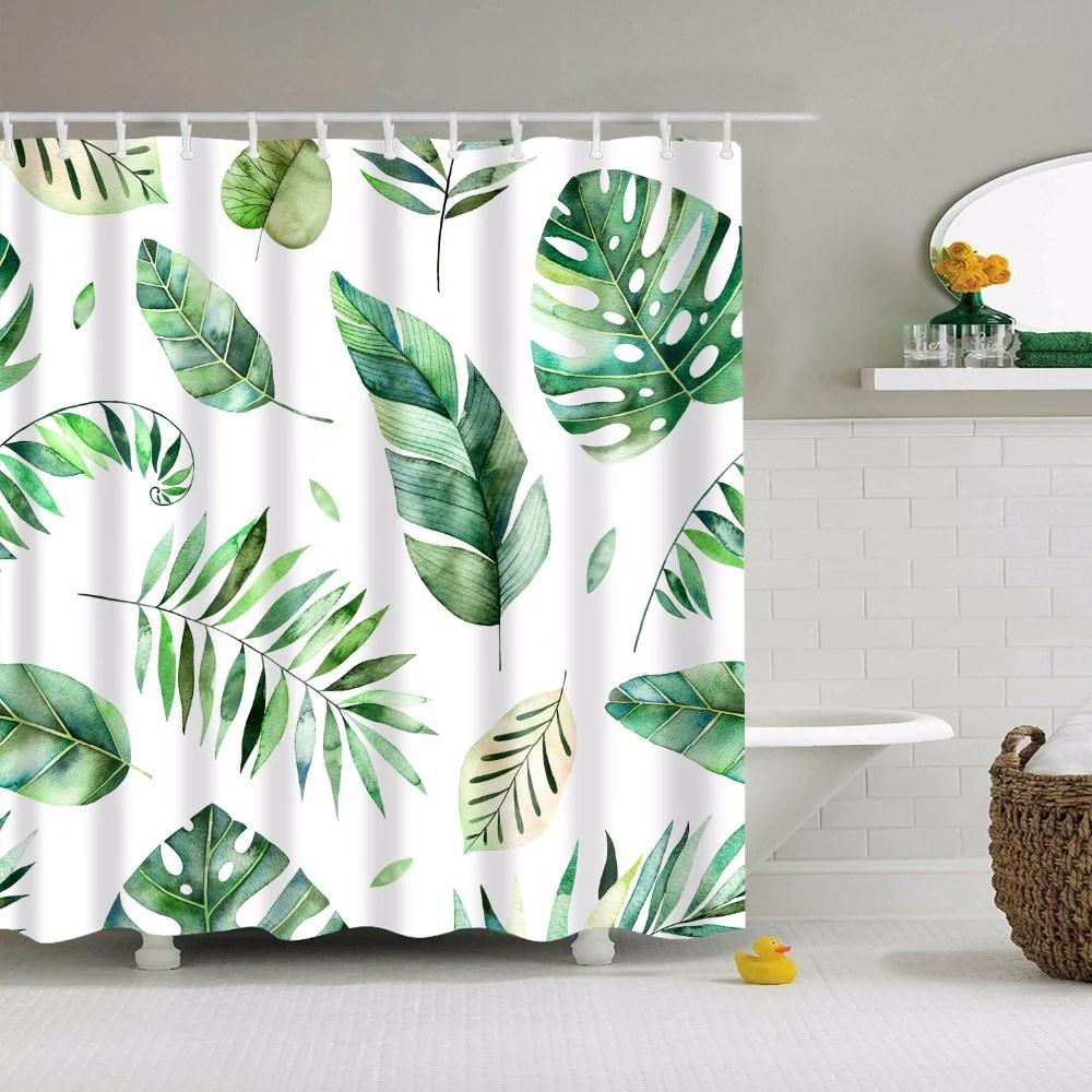 watercolour plant leaves shower curtain