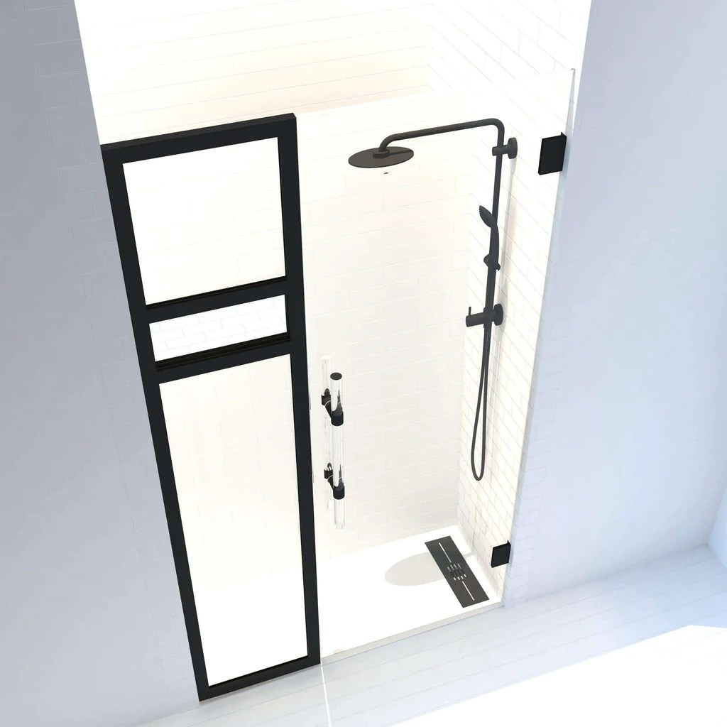 Gridscape Synthesis Reflections Edition Frameless Hinged Shower Door With Side Panel In Black With Clear Glass