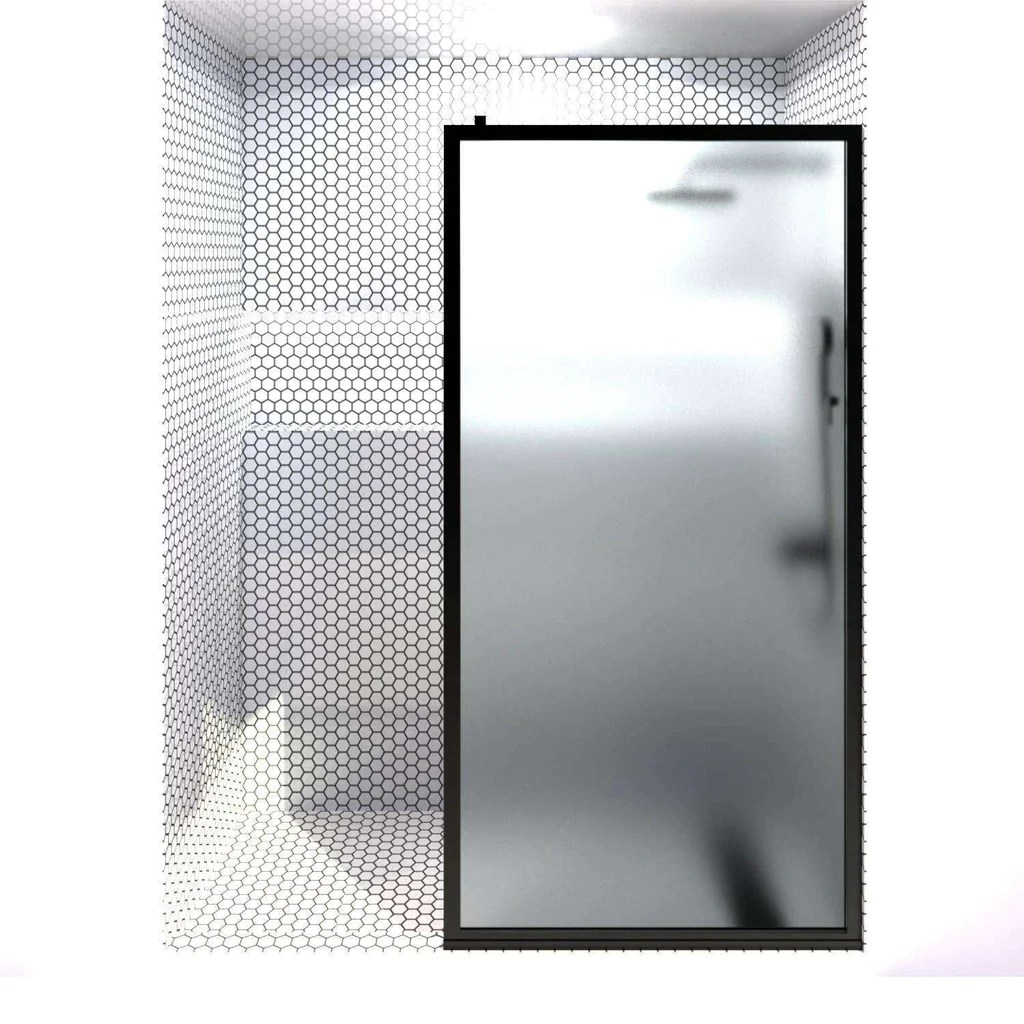 Gridscape Gs3 Shower Screen In Black With Satindeco Glass