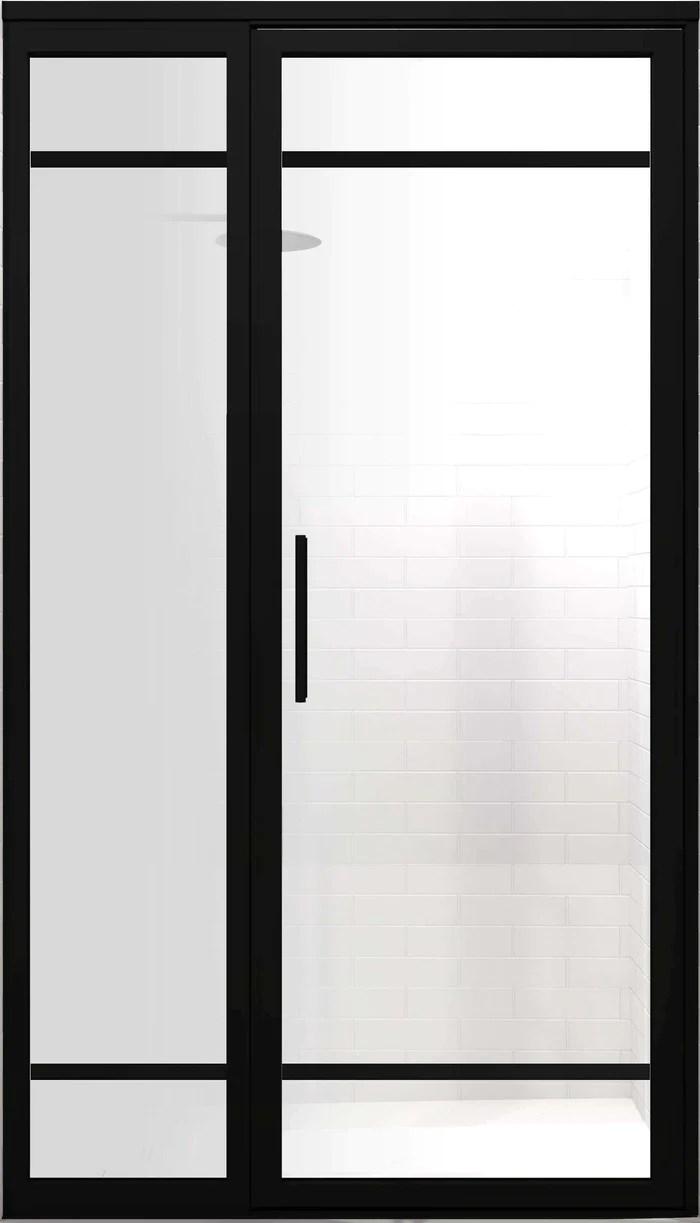 Black Grid Frame Shower Doors With Panel Gs2 Satin Deco
